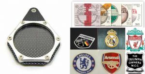 MOTORCYCLE Tax Disc Holder [Carbon/Chrome] Coat of Arms, Football Club, Moto Club Badge Holder.